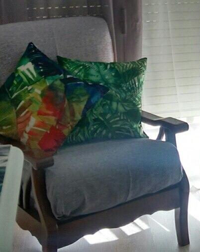 45*45CM Sofa Cushion Covers Linen Tropical Plant Printed Pillowcase Green Leaves Home Sofa Decorative Cushion Covers CS024610468