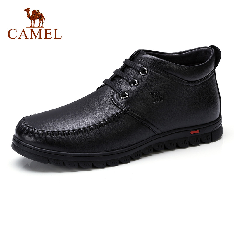 CAMEL Quality Men Boots Business Genuine Leather Boots Ankle High top Cotton Snow Boots With Full