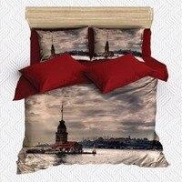 Else 6 Piece Sea Maiden's Tower Turkish Istanbul 3D Print Cotton Satin Double Duvet Cover Bedding Set Pillow Case Bed Sheet|Duvet Cover|Home & Garden -
