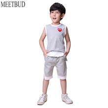 MEETBUD 2018 New summer children clothing baby boys set boy casual clothes 100 cotton solid boys