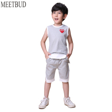 MEETBUD 2018 New summer children clothing baby boys set boy casual clothes 100% cotton solid boys costume set for kids