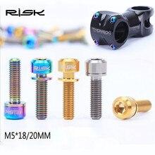 RISK 6pcs M5*20mm Ti Titanium Bike Stem Bolt Mountain Road Ultralight Screw with Washers Gasket Colorful Beautiful