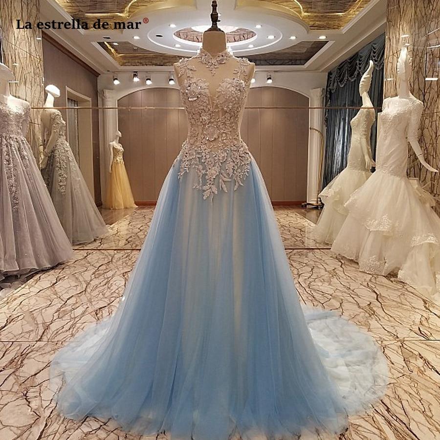 US $220.20 120% OFFLa estrella de mar ballkleider lang 220 new tulle  crystal high neck open back luxury a Line sky blue prom dress plus  sizeProm