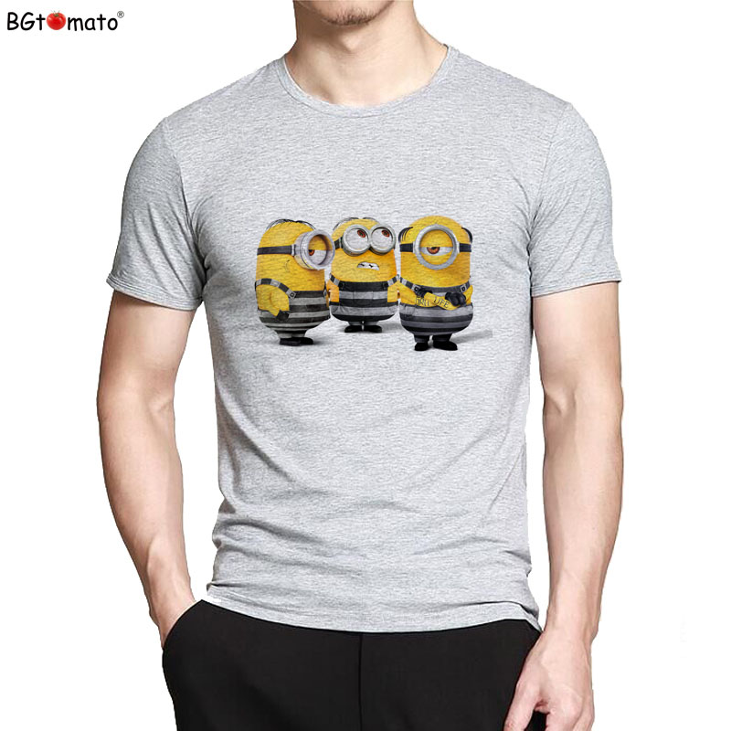 BGtomato Funny T Shirts Popular Minions T-shirt Hot Sale Fashion 3D Cartoon Streetwear Hip Hop Tops Minions T Shirt Men