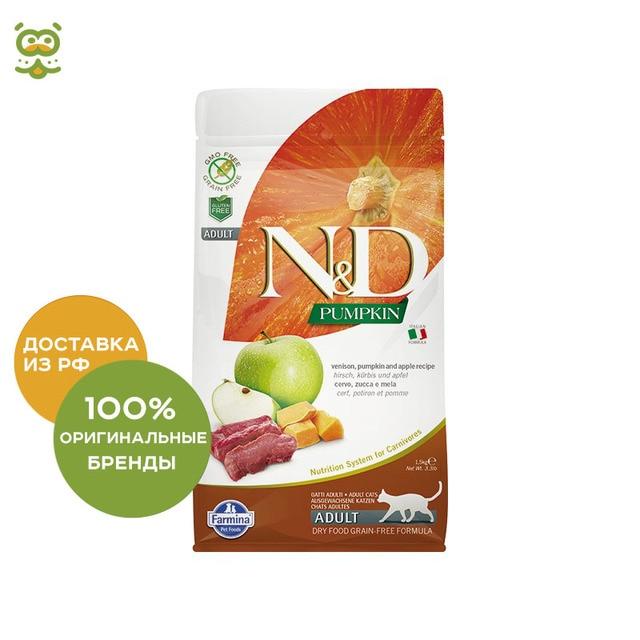 N&D Cat Pumpkin Venison&Apple Adult корм для взрослых кошек, Оленина, тыква и яблоко, 300 г.