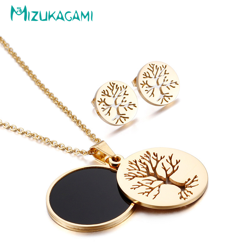 2018 New Fashion Round Jewelry Set Necklaces And Earrings Titanium Material For Women Elegant Design Wholesale