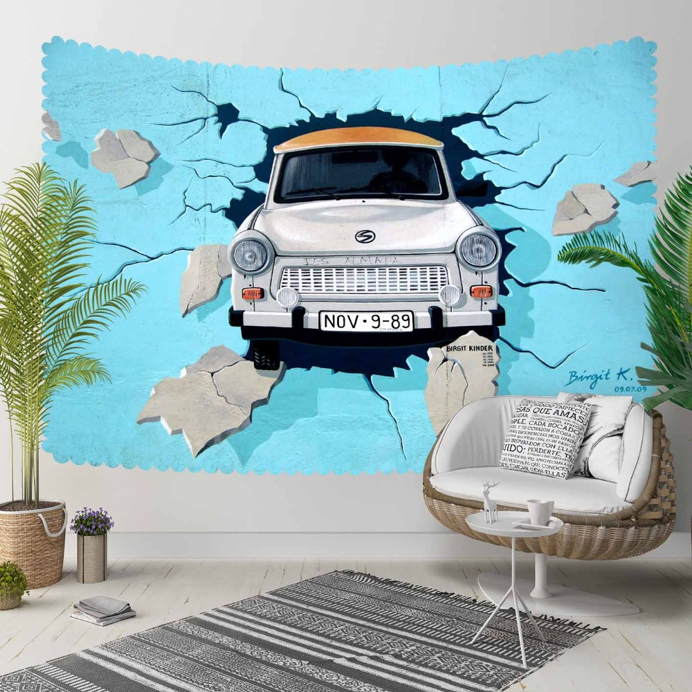 Else Blue Broken Wall Stones In Classical Car 3D Print Decorative Hippi Bohemian Wall Hanging Landscape Tapestry Wall Art