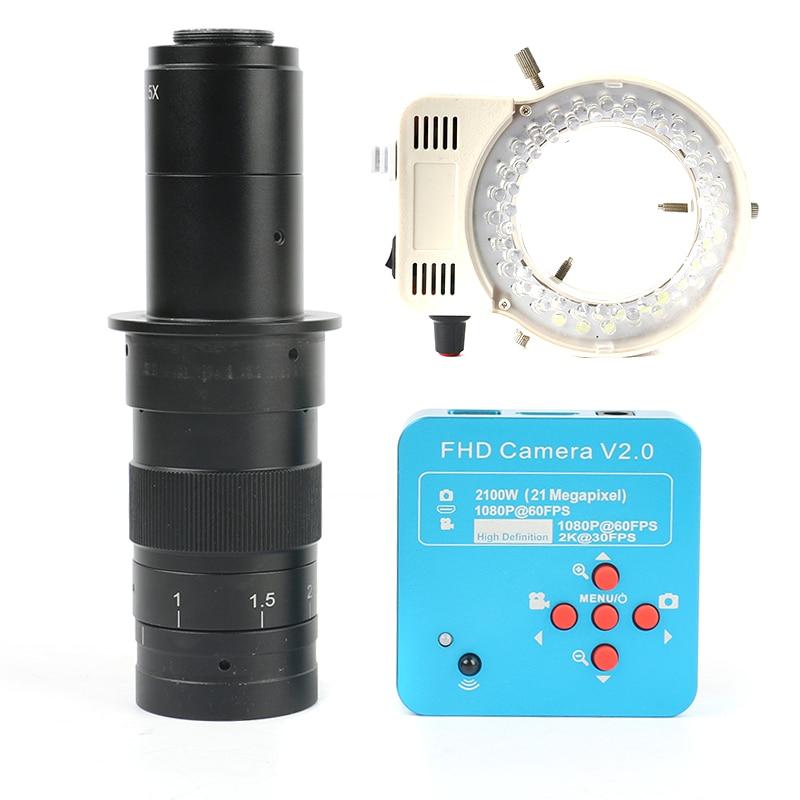 Date 21MP 2 k HDMI UBS L'industrie Vidéo Microscope Caméra + 130X/180X/300X Monoculaire Lentille 56 LED lumière Pour PCM SMD À Souder