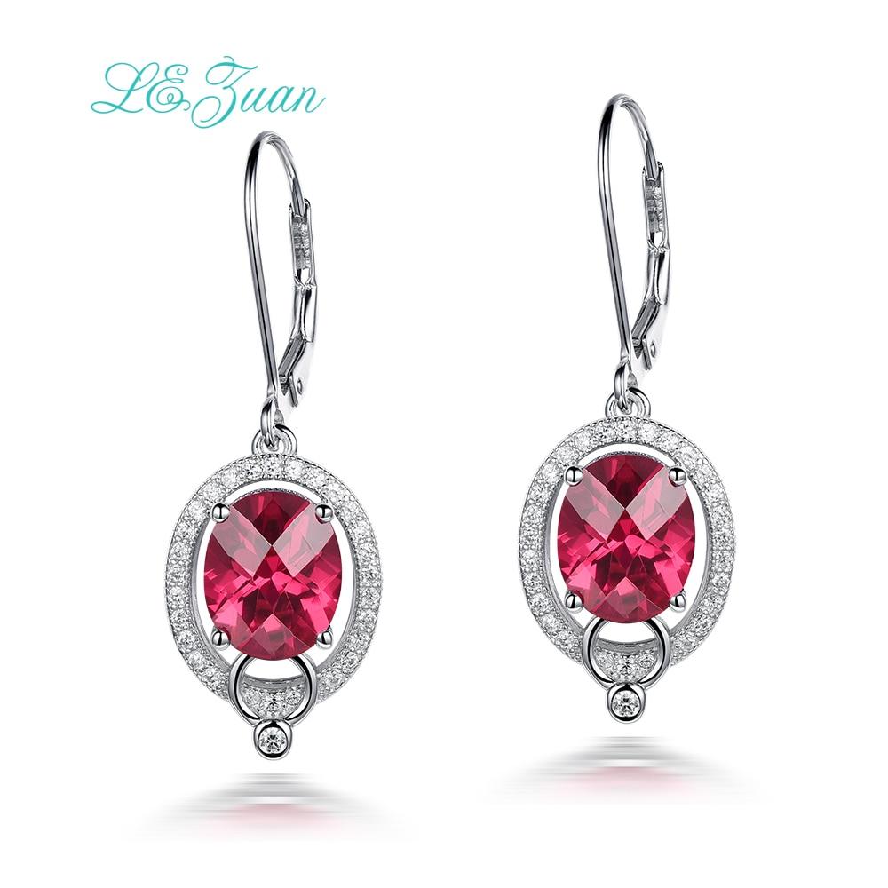 L & zuan 925 boucles d'oreilles en argent Sterling pour femmes 6.87ct rubis pierre rouge romantique luxe boucle d'oreille bijoux fins E0049-W01
