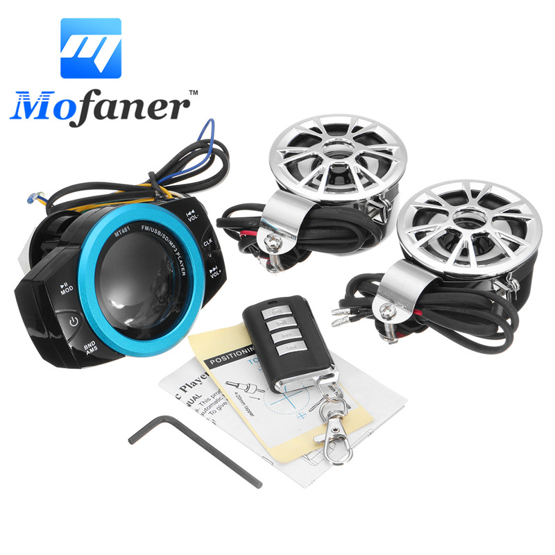 цена на Waterproof Motorcycle Anti-theft Audio Radio System Stereo FM/TF/USB/SD/MP3
