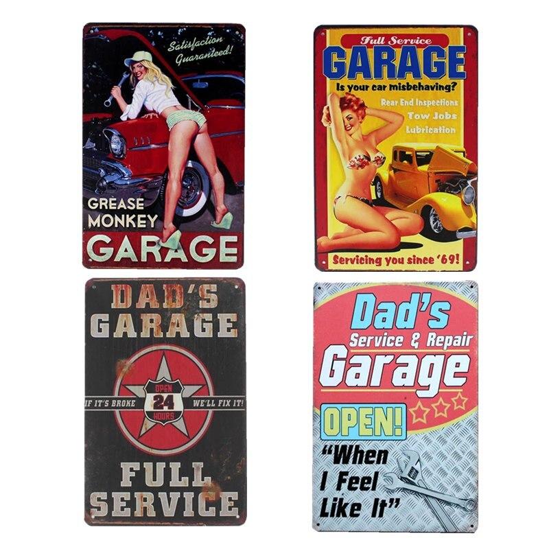 Dad's Garage Signs Plaques Retro Wall Vintage Metal