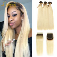 Joedir Hair Peruvian Straight Human Hair Weave Bundles With Closure T4 613 Ombre Honey Blonde Remy Hair Bundles With Closure