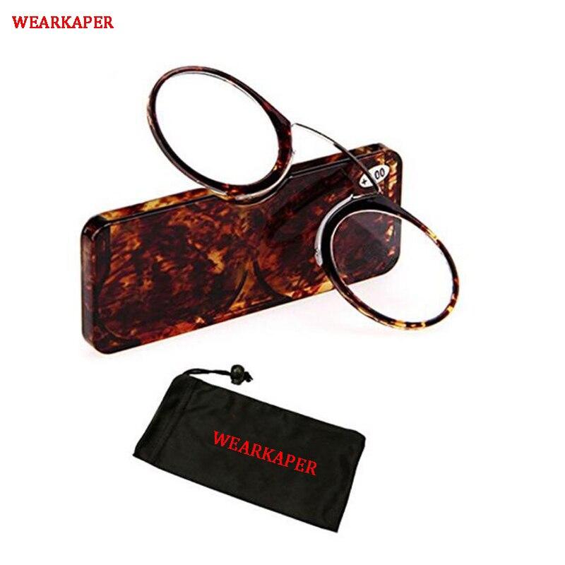d0f105c8e2 WEARKAPER portátil con Clip de la nariz cartera gafas de lectura con caso  leopardo mini gafas de presbicia tamaño de tarjeta de crédito de emergencia  de ...