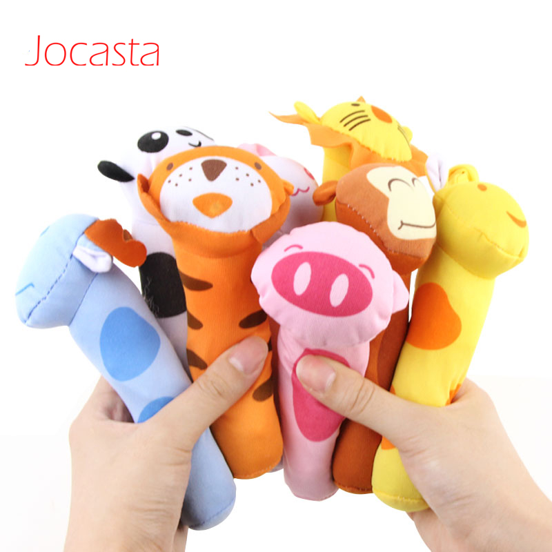 Baby Rattles Cartoon Animal Shaped Hand Bell Ring Soft Plush Cloth Toy Squeaker BB Sounder Doll Gift For Newborn Baby Infant !