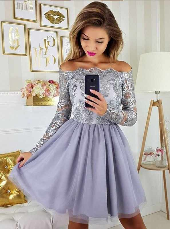11007ad346 ... Cute A Line Navy Blue Graduation Prom Dresses Party Dress 2019 Short  Tulle Skirt Long Sleeves ...