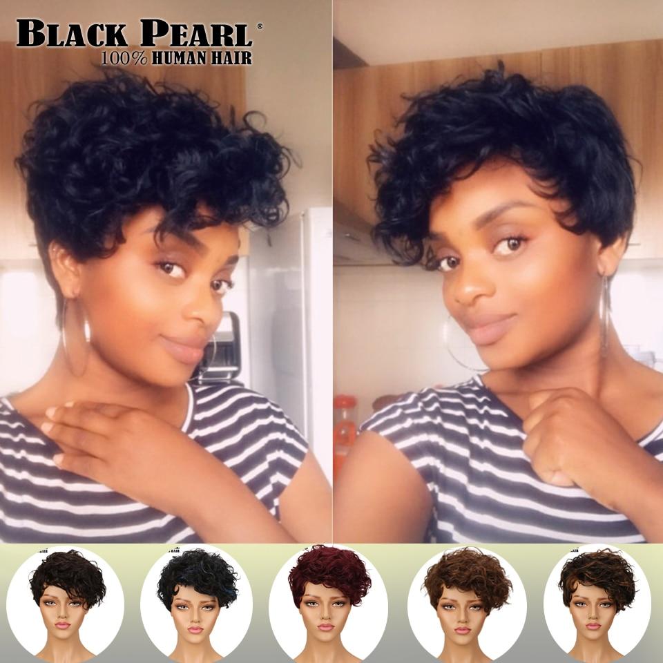 "Black Pearl Human Hair Wigs  8 "" Brazilian Wig Many Colors Short Human Hair Wigs Free Shipping"