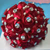 High Quality Handmade Crystal Bridesmaid Bouquets Artifical Pearl Beaded Wine Red Silk Rose Flowers Bridal Wedding