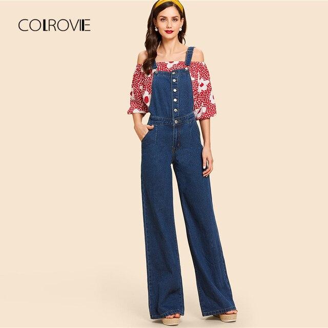 7c67badd839 Colrovie blue vintage button high waist wide leg strap denim jeans woman  autumn solid boyfriend women