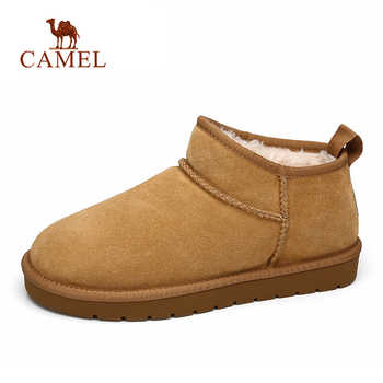 CAMEL Winter Men Snow Boots Men With Warm Fur Suede Cowhide Fashion Short Boots Casual Cotton Shoes Men - DISCOUNT ITEM  0% OFF All Category