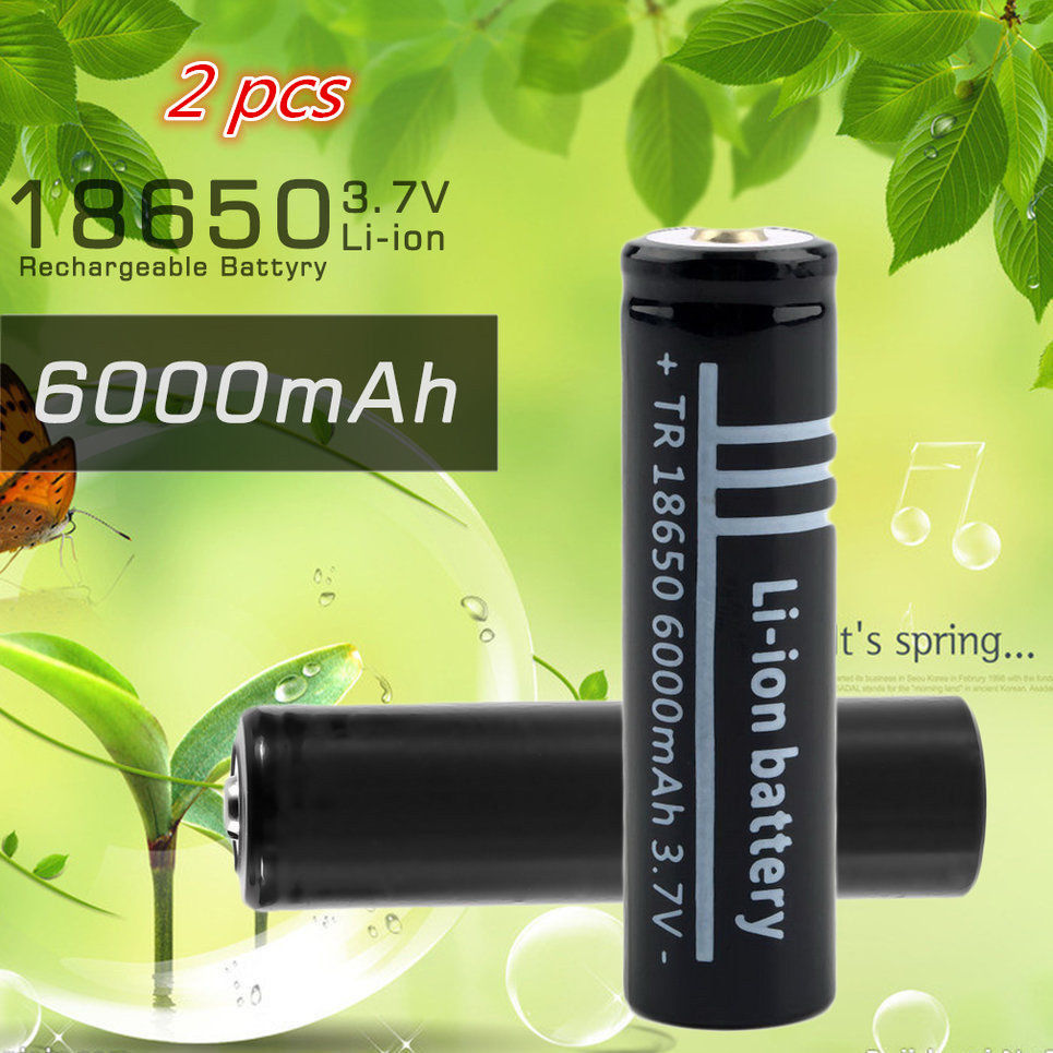 2PCS 18650 <font><b>Battery</b></font> New <font><b>3.7V</b></font> <font><b>6000mAh</b></font> 18650 <font><b>Li</b></font>-<font><b>ion</b></font> <font><b>Rechargeable</b></font> <font><b>Battery</b></font> for Flashlight DP image
