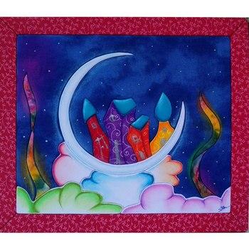 Cuadro luna forrado de tela y pintado a mano con pastel