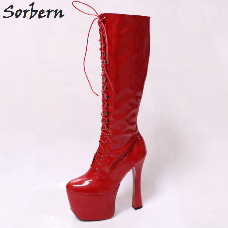 Sorbern 9Cm Platform Lace Up Red Boots For Women Zip Runway Shoes Knee Hi Goth Punk Boot Patent Red Cosplay Kawaii Decoration pws6700t n hitech hmi touch screen human machine interface new in box
