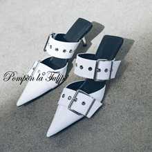 BHS 901155 Chic 6CM Heels Stilettos Mules Slipper Genuine Leather Stylish Sandals Sheepskin Fashion Women Shoes Party Wedding