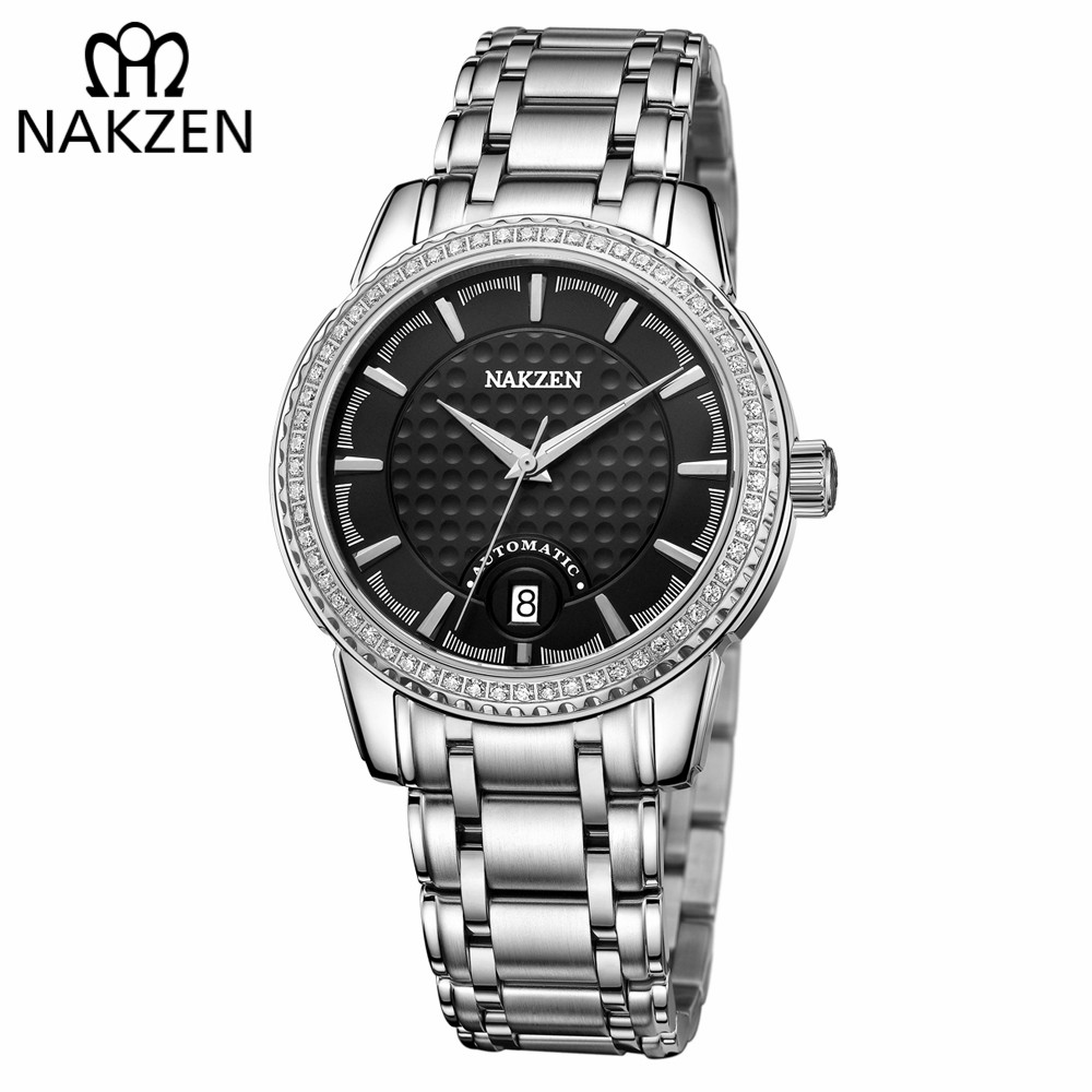 NAKZEN Men Mechanical Watch Brand Luxury Men's Automatic Diamond Watches Sapphire Wrist Watch Male Waterproof Clock Reloj Hombre mens watches top brand luxury mechanical watch men s waterproof military automatic wrist watch clock men hours 2017 reloj hombre