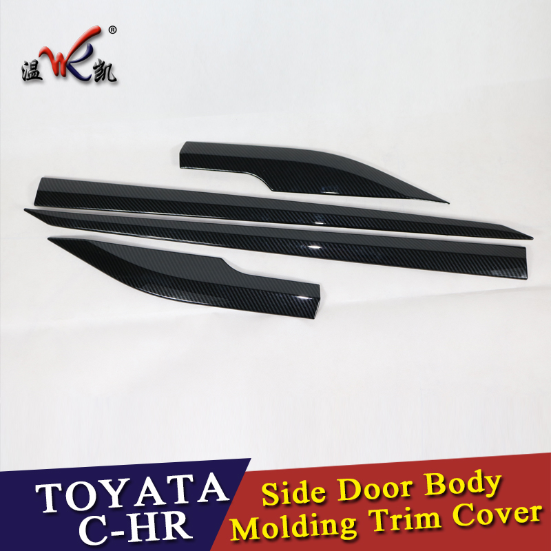 ABS Black Trim For Toyota C-HR CHR 2016 2017 2018 Side Door Car Body Molding Cover 4pcs/set Carbon Fiber Look