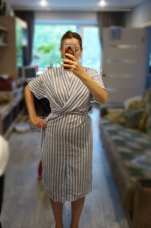 Summer Women Short Sleeve Streetwear Dress O Neck Striped Straight Bandage Bow Women 'S Fashion Clothing photo review
