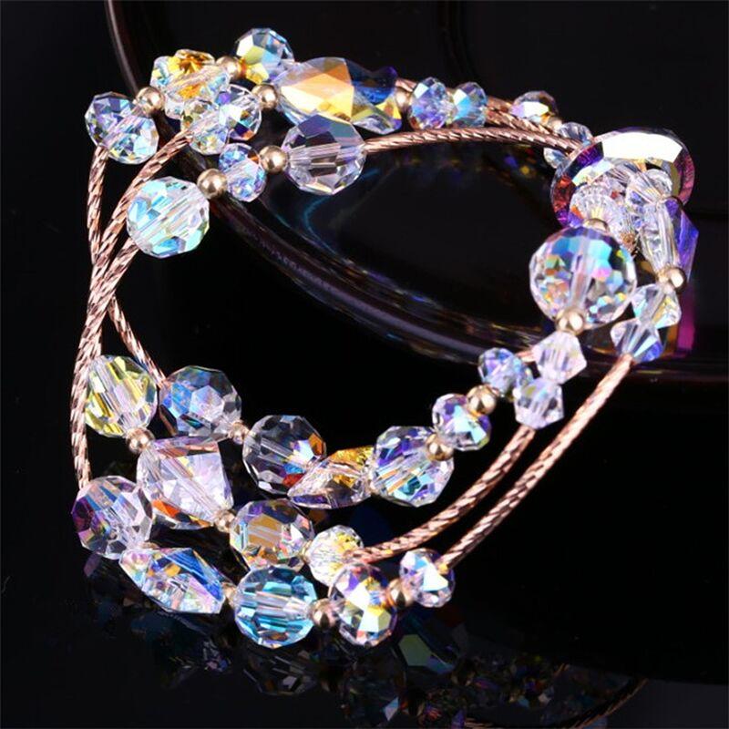 SWAN BIJOUX Ventes Chaudes Multicouche Bracelet En Cristal DIY Coeur Bijoux De Mode Cadeau en Or Rose Bracelets À La Mode Doux Filles Bijoux