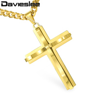 Davieslee Mens Chain Curved Cross Pendant Necklace Stainless Steel Curb Cuban Link Black Gold Silver Tone