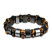 Vintage Unisex Artificial Hematite Wood Beads Magnetic Bracelet Bangle Jewelry
