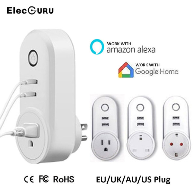 US $15 64 34% OFF|Smart Socket Wifi Outlet 2 USB Ports Smart Plug For  Amazon Alexa/Google Home Phone Remote Control Timing Switch EU/US/UK  Plug-in