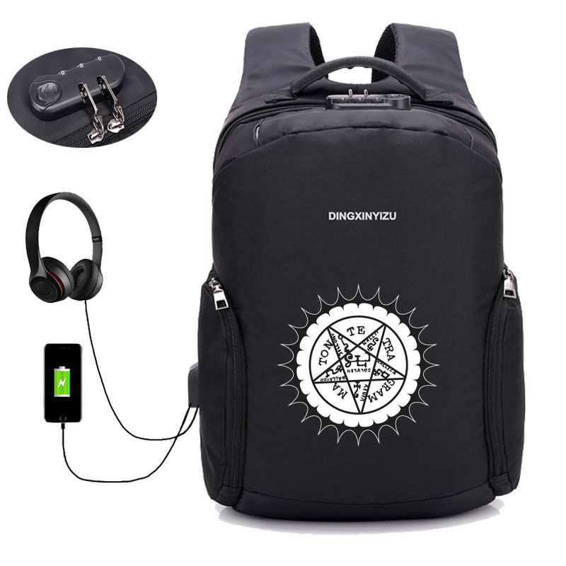 Kuroshitsuji anime black butler backpack USB charging Men women Laptop Backpacks Teenager student Male Mochila Travel
