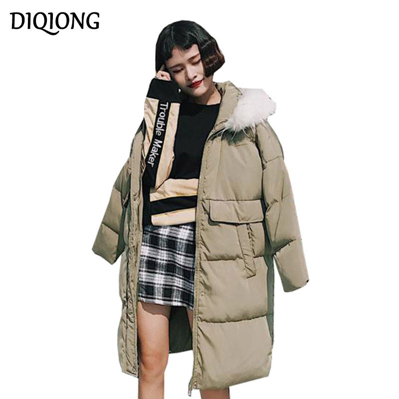Diqiong 2017 Winter New Korean Version Of Cotton Long Section Of Large Size Women's Loose Padded Jacket Thick Coat Female Pakas 2017 winter version of the new south korean edition of cotton dress short dress and a large size cotton padded jacket