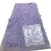 Best Selling Purple 3d Flower Tulle Lace African Feather Lace Fabrics Wedding Lace Fabric X755 4