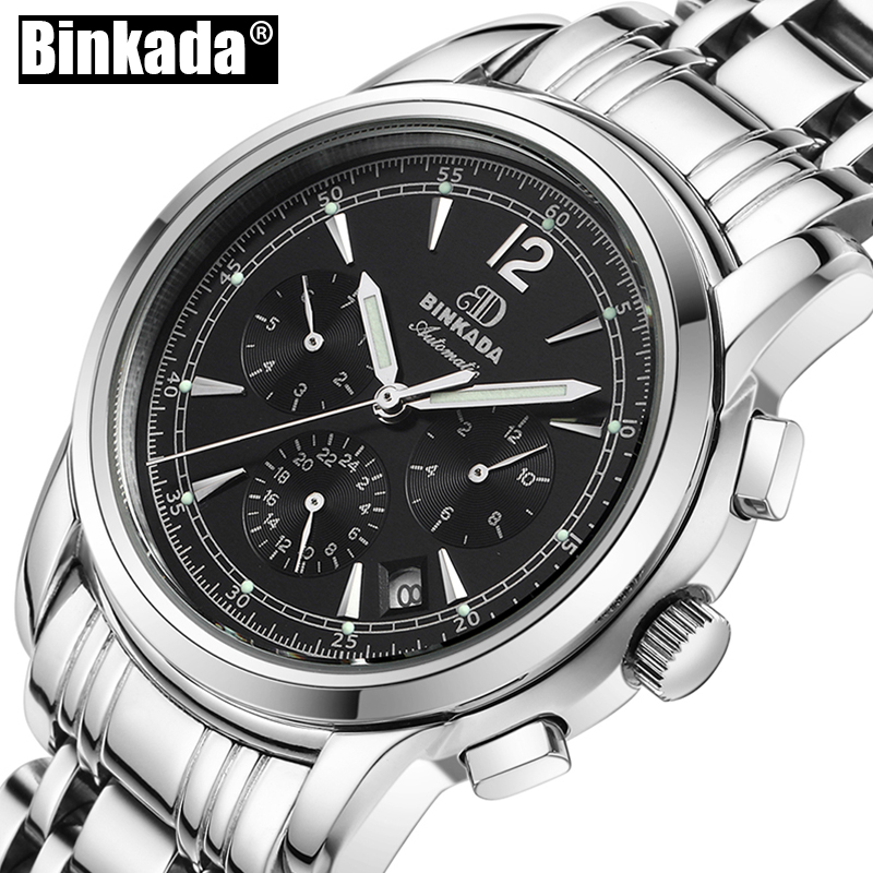 BINKADA Mechanical Men Wristwatches Top Brand Luxury Sport Watches Men New Automatic Stainless Steel Casual Fashion Male Watches 2017 new fashion men binkada top brand gold luxury wristwatches self wind automatic mechanical calendar leather watch clock