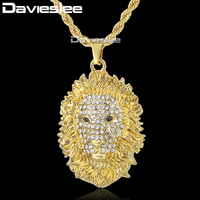 Davieslee Lion Head Pendant Necklace Womens Mens Chain Black Eyes Iced Out Paved Rhinestones Yellow Gold