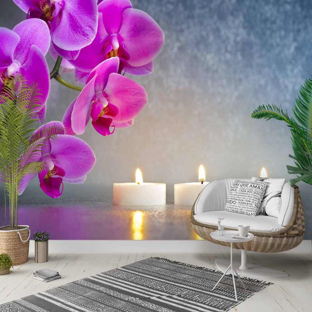 Else Pinkc Orchid Gray Floor Candles Flowers 3d Photo Cleanable Fabric Mural Home Decor Living Room Bedroom Background Wallpaper