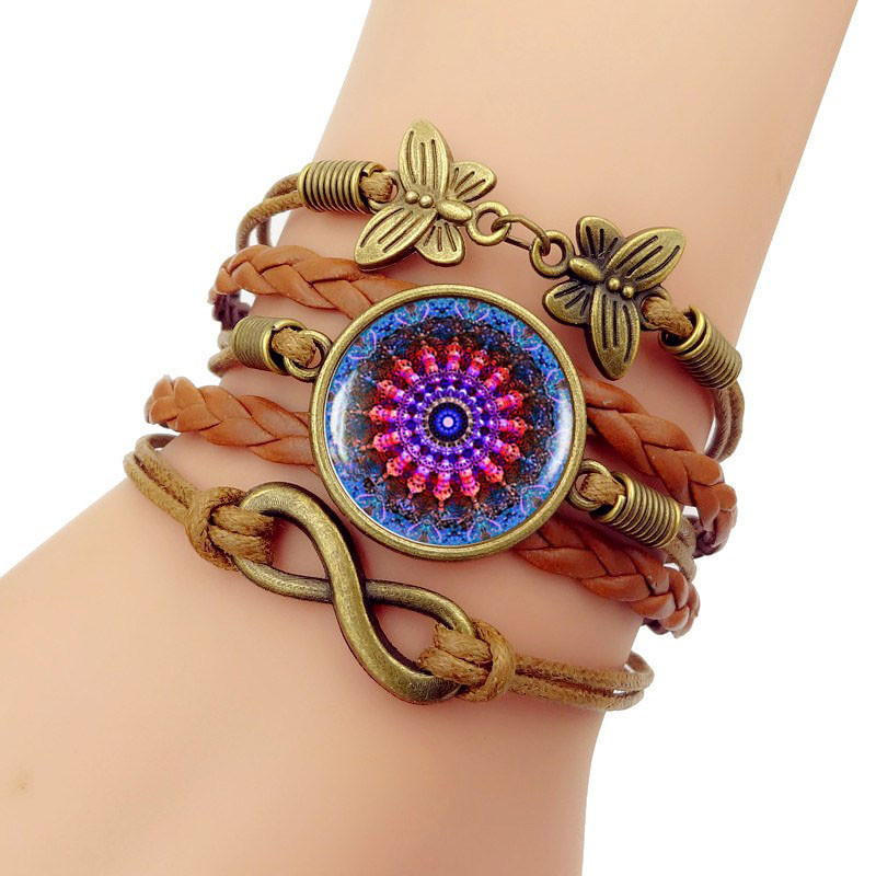 Bangle Pulseiras New 2018 Women Simple Fashion Colorful Datura Woven Bracelet Multilayer Jewelry Leather Trendy Unisex