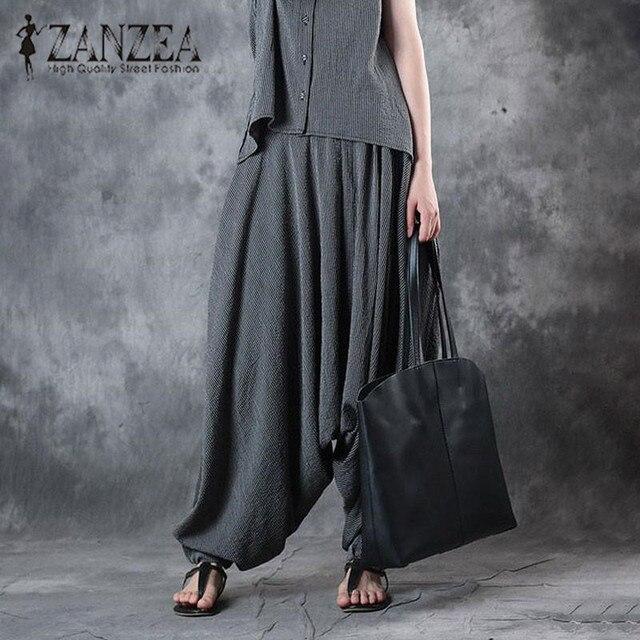 99f95b48f55fa Mode ZANZEA Femmes Rayé Élastique Taille Baggy Harem Pantalon Automne Lâche  Baisse Entrejambe Lanterne Pantalon Femelle