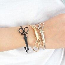 Gothic Steampunk Women Alloy Open Cuff Bracelet Mini Scissors Charm Bangle Jewelry Gift Mujer pulseira Wrist Hand Accessories