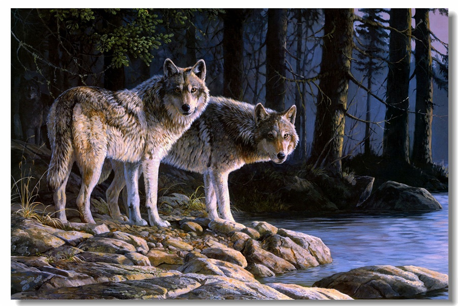 Custom Canvas Wall Mural Wolf Wall Stickers Wolves Poster Wild Animal Wallpaper Office Decoration Living Room Paintings #0152#