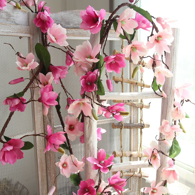 1pc 180cm  Artificial mangnol Flower Vine Wedding Decorative Real Touch Silk Flowers With Green Leaves for Home Hanging Garland