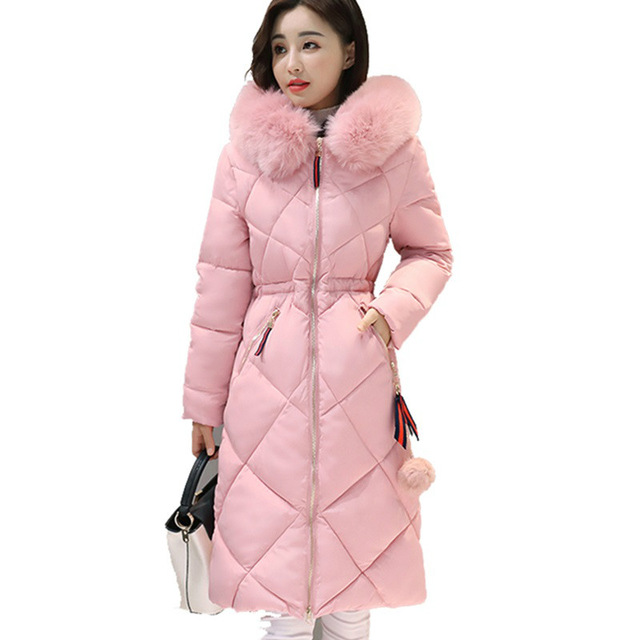 Long Parkas Women Winter Coat Large Fur Collar Jacket Female Warm Outwear Thin Padded Cotton Jacket