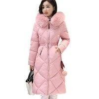 Длинные Парки Женщины Зимнее Пальто Большой Меховой Воротник Куртки Женщины Теплый Пиджаки Тонкий Мягкий Хлопок Куртка Пальто Женская Оде