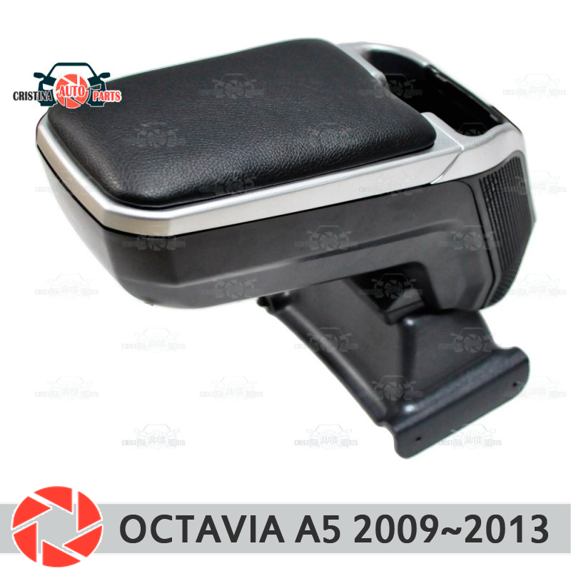 цена на Armrest for Skoda Octavia A5 2009~2013 car arm rest central console leather storage box ashtray accessories car styling m2