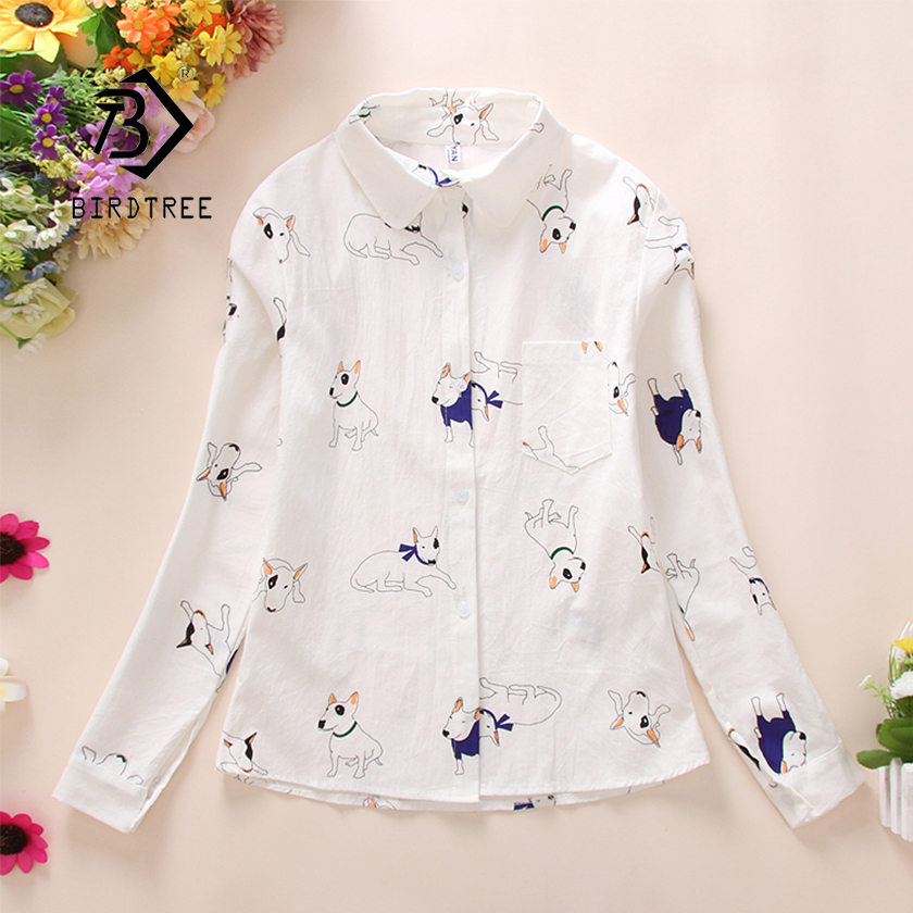 2019 NEW White Shirt Office Lady Wear Button Up Turn Down Collar Cotton Blouse With Pocket Print Bees Dog Cactus FemininaT8D401M