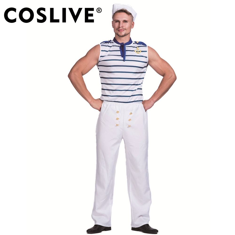 Coslive Men Sailor Crew Seaman Ship's Officer Cosplay Costume Adult Male Striped Clothing Outfits for Carnival Christmas Party